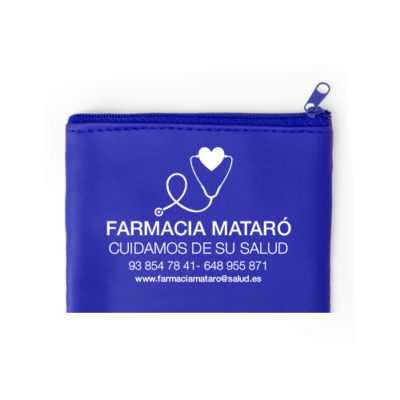 Monedero Dramix cremallera azul logo